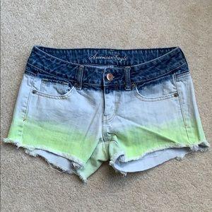 American eagle acid wash/green ombré jean shorts